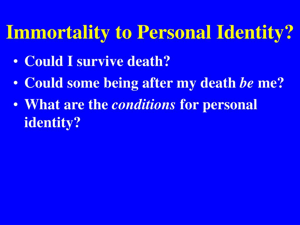 john perry on personal identity a Perry, john, (1978) a dialogue on personal identity and immortality indianapolis: hackett publishing a dialogue on personal identity and immortality.