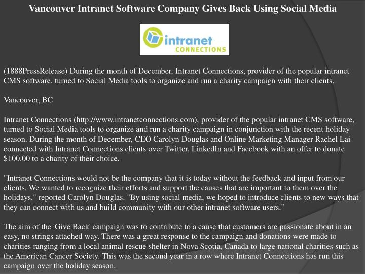 Vancouver Intranet Software Company Gives Back Using Social Media