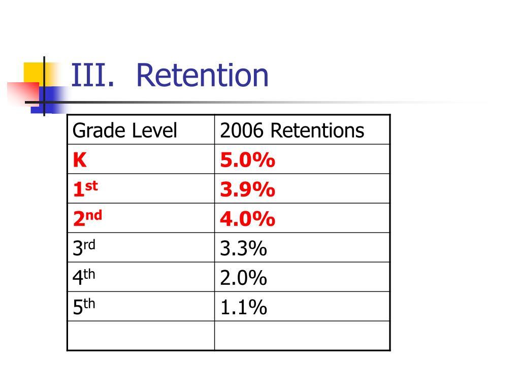 III.  Retention