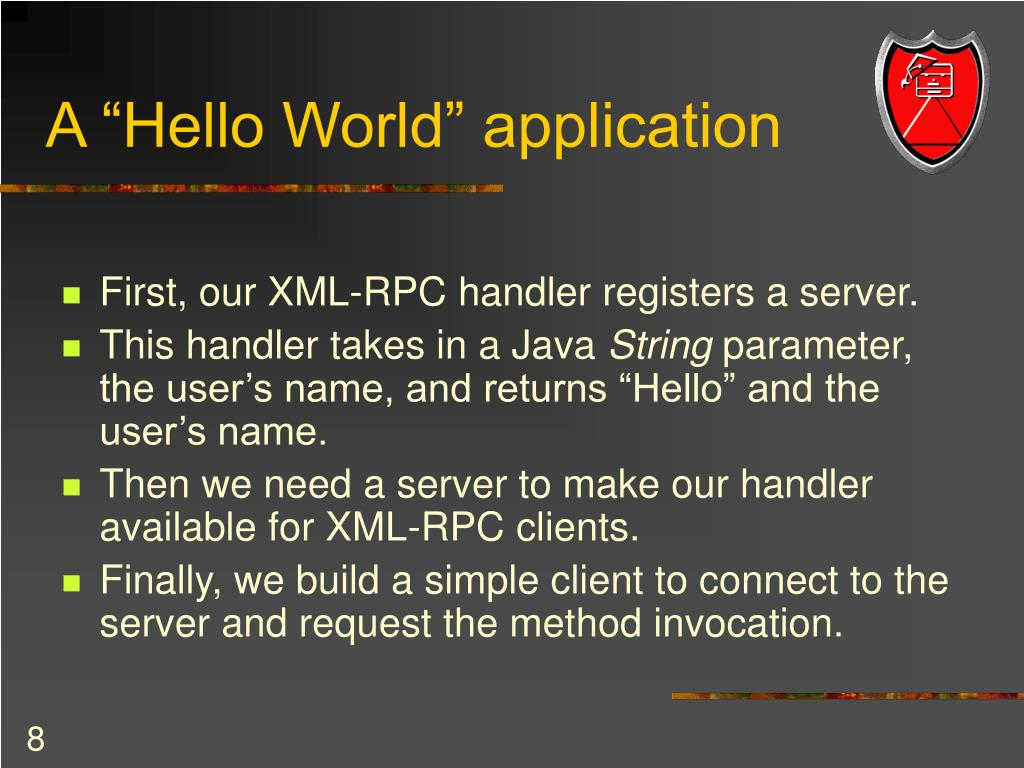 "A ""Hello World"" application"