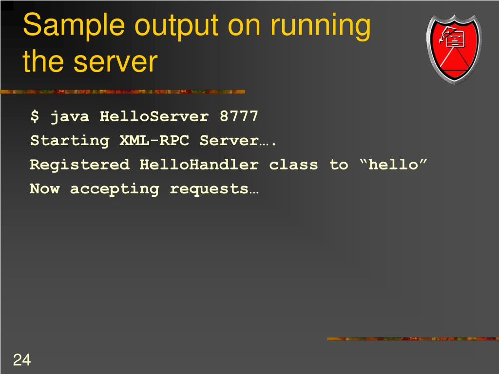 Sample output on running the server