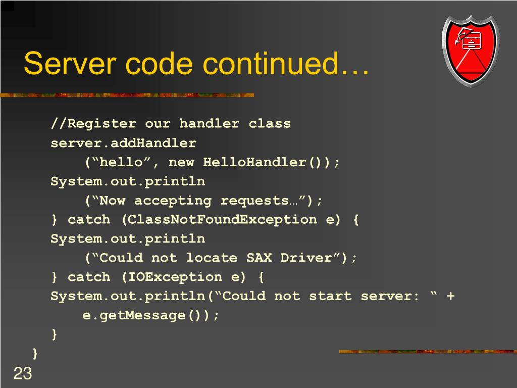 Server code continued…