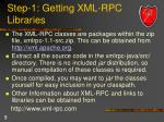 step 1 getting xml rpc libraries