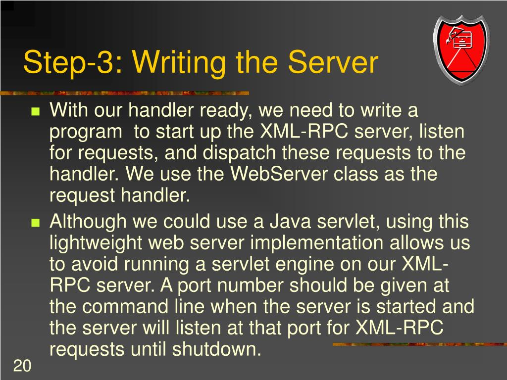 Step-3: Writing the Server