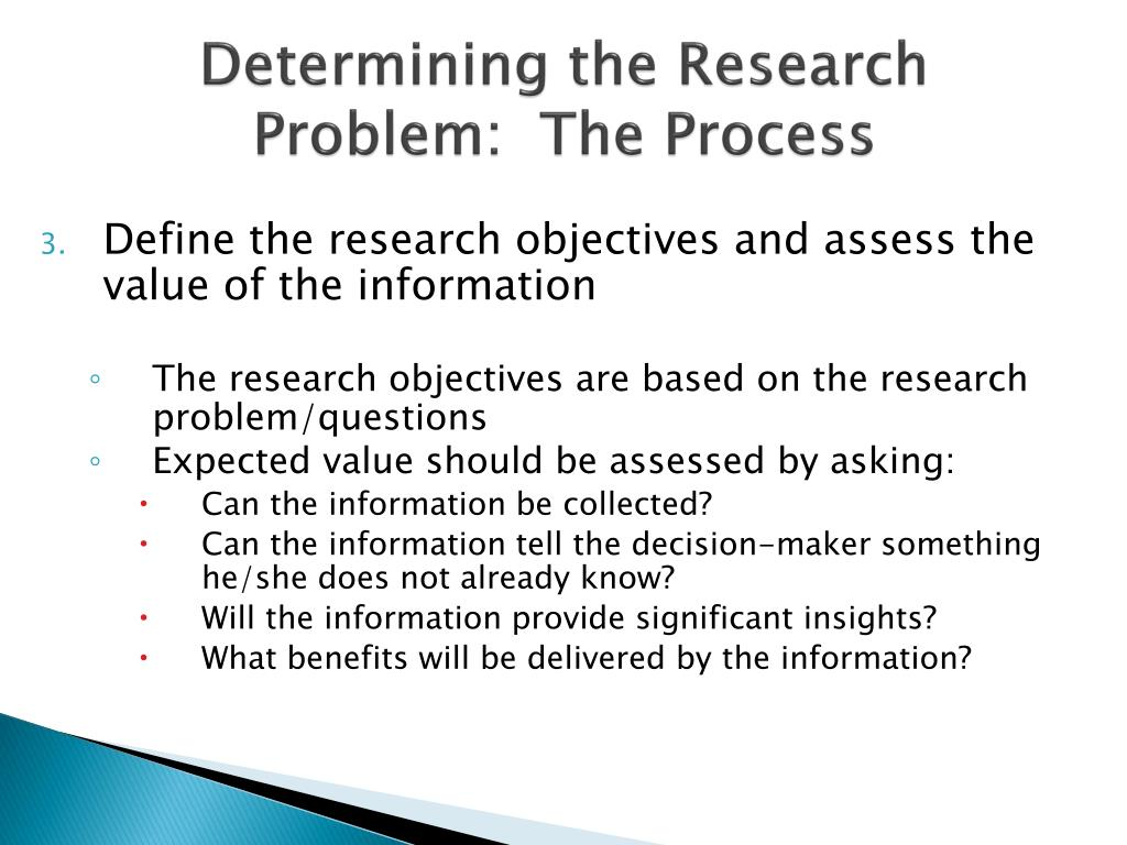 research objectives and problem definitions at