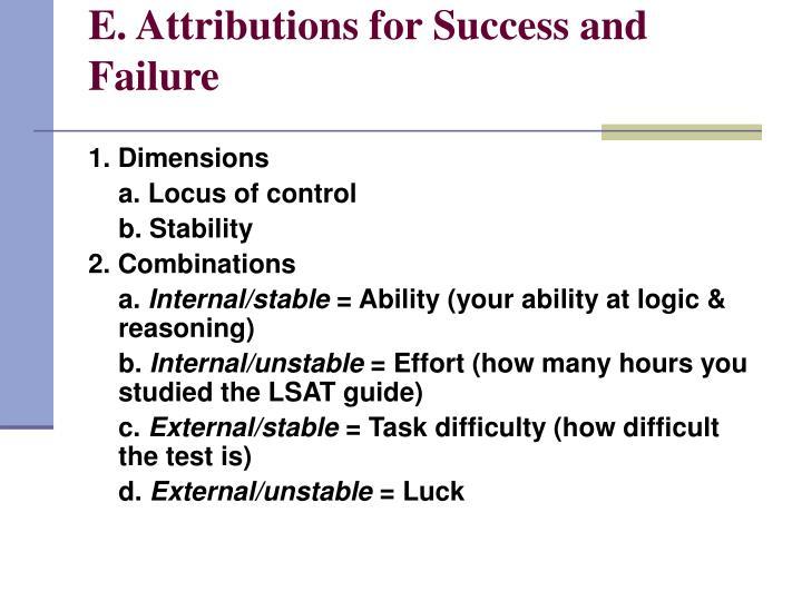 E. Attributions for Success and Failure