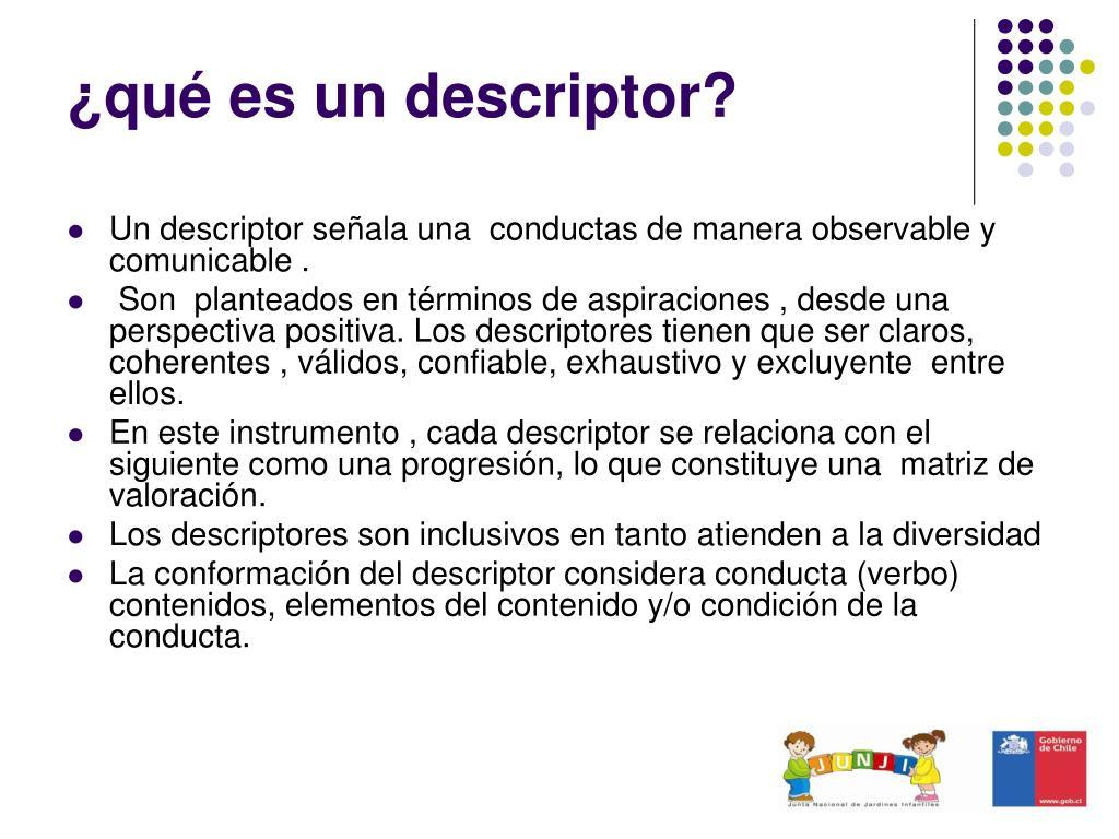 ¿qué es un descriptor?