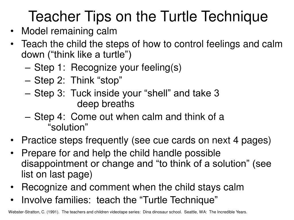 Teacher Tips on the Turtle Technique