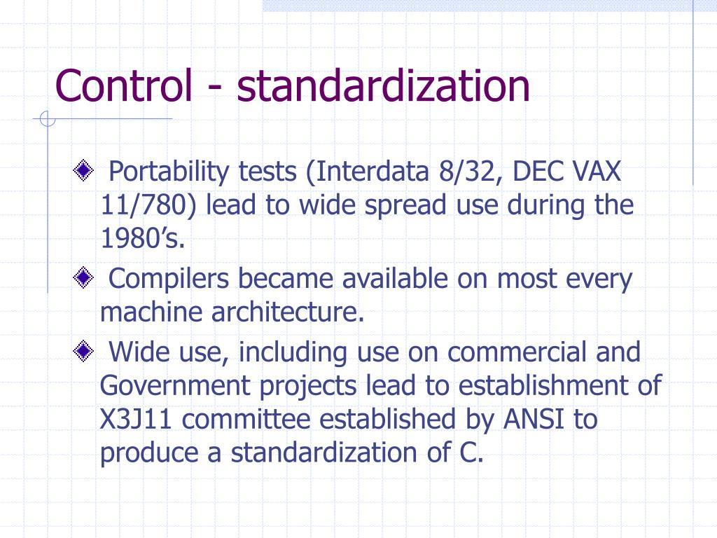 Control - standardization