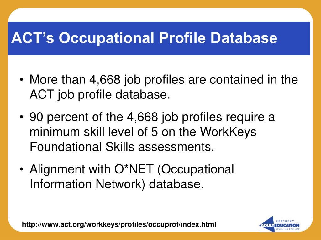 ACT's Occupational Profile Database