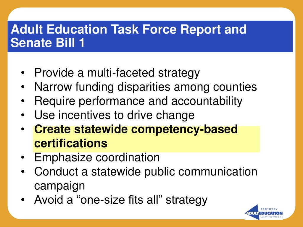 Adult Education Task Force Report and Senate Bill 1