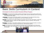 basic skills curriculum in context
