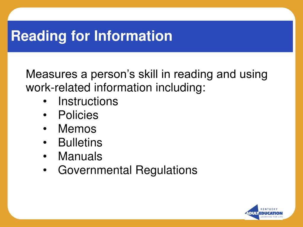 Reading for Information
