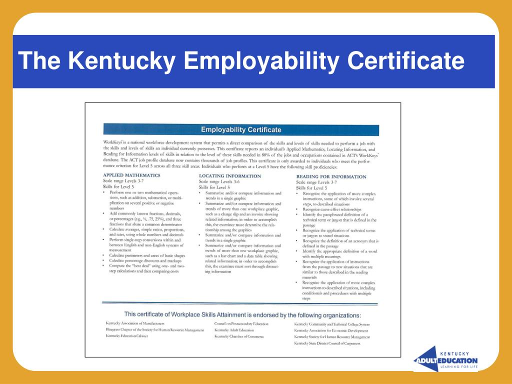 The Kentucky Employability Certificate