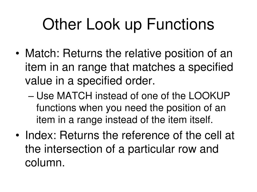 Other Look up Functions