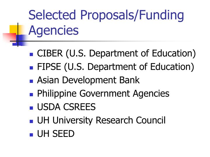 Selected proposals funding agencies