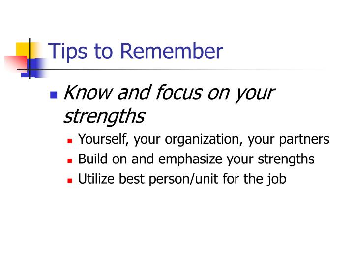 Tips to remember