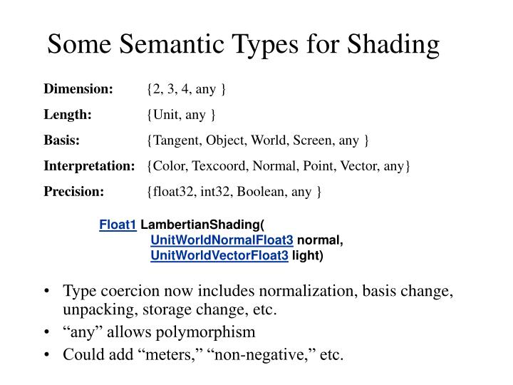 Some Semantic Types for Shading
