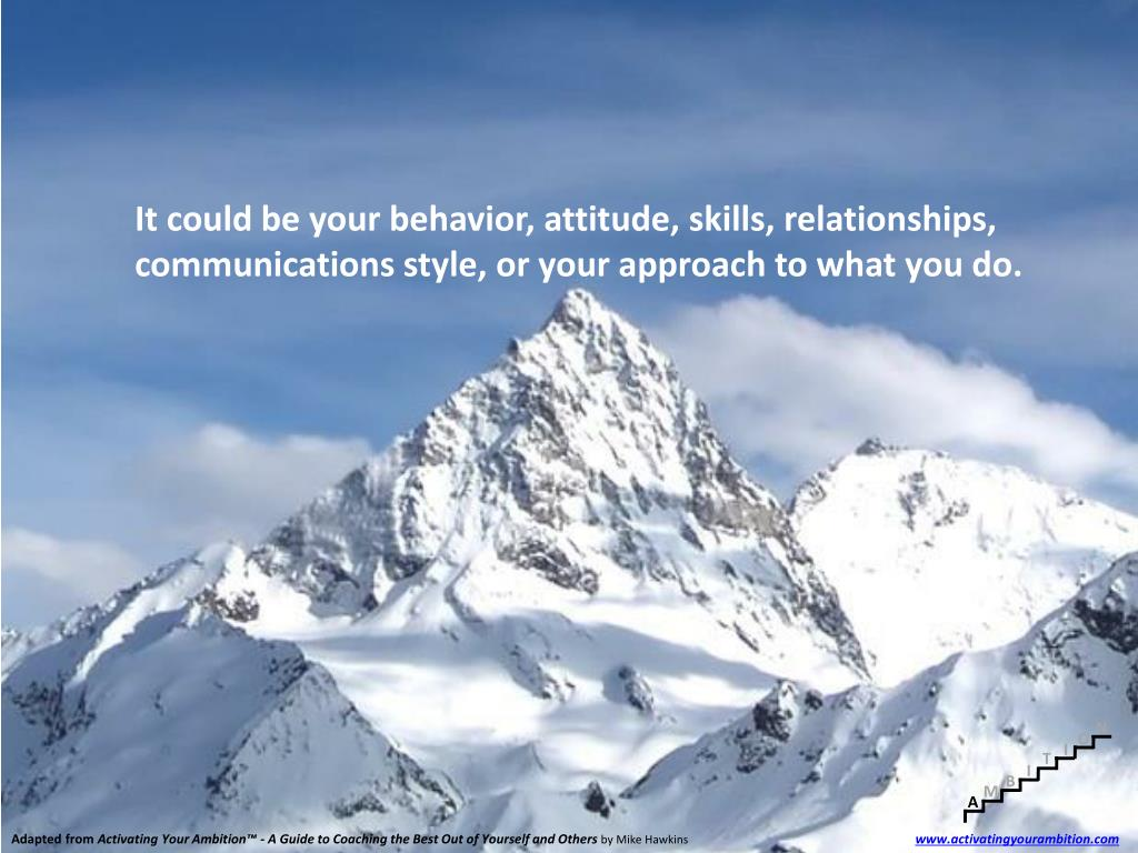 It could be your behavior, attitude, skills, relationships, communications style, or your approach to what you do.