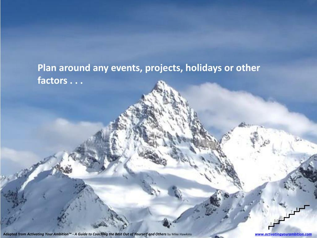 Plan around any events, projects, holidays or other factors . . .