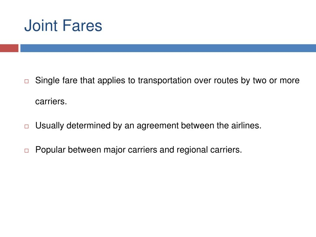 Joint Fares