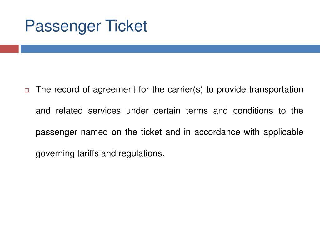 Passenger Ticket