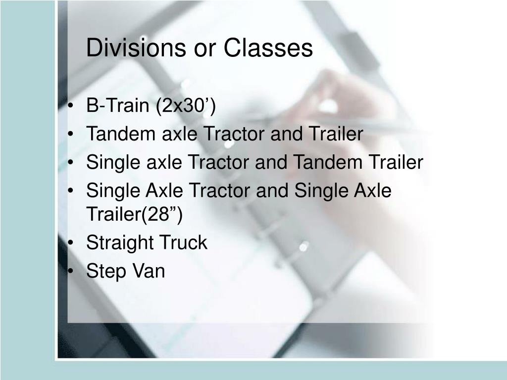 Divisions or Classes