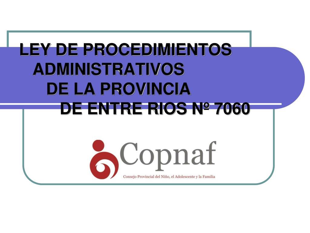 LEY DE PROCEDIMIENTOS