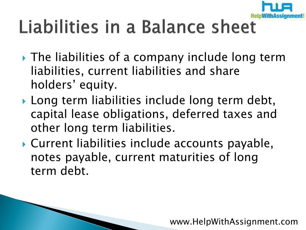 Liabilities in a Balance sheet