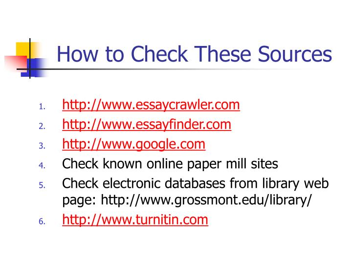 How to Check These Sources