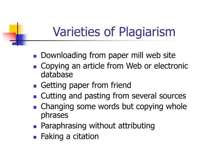 Varieties of Plagiarism