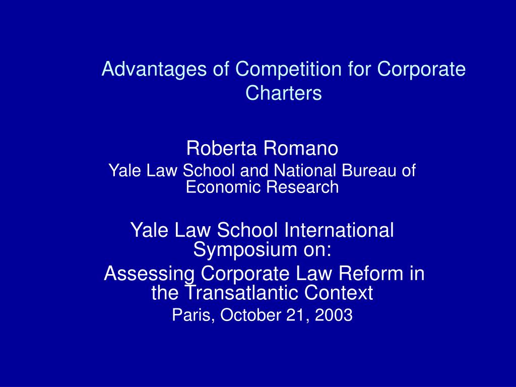 Advantages of Competition for Corporate Charters