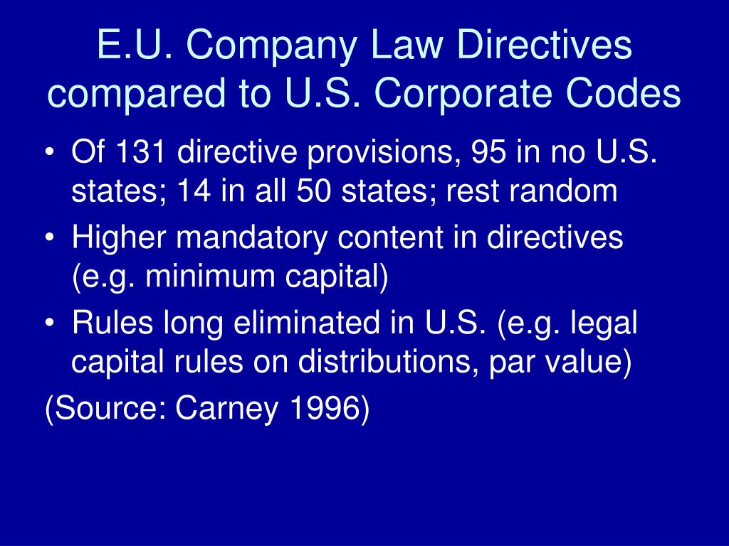E.U. Company Law Directives compared to U.S. Corporate Codes