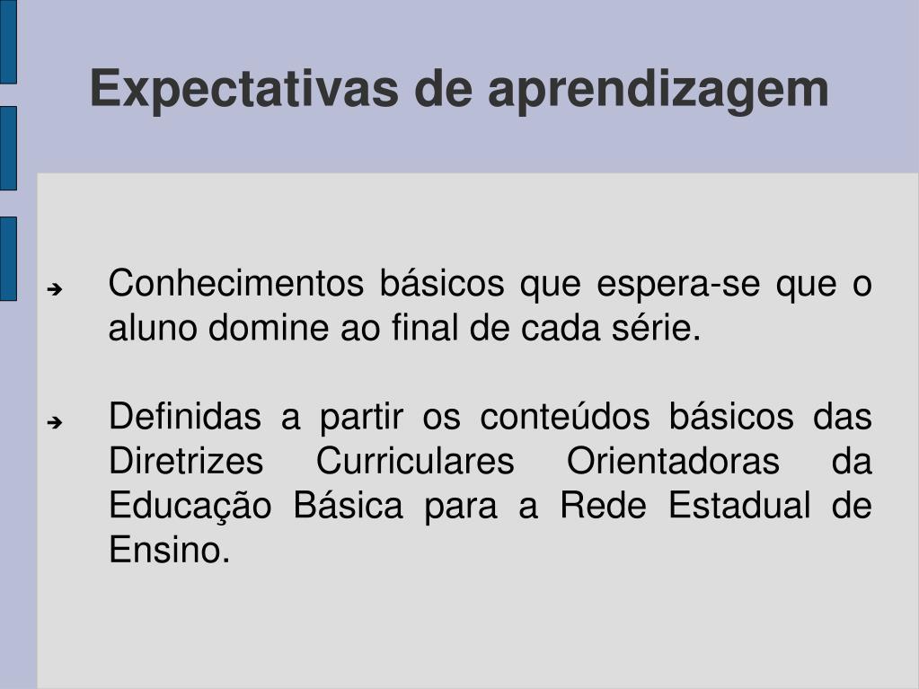 Conhecimentos básicos que espera-se que o aluno domine ao final de cada série.