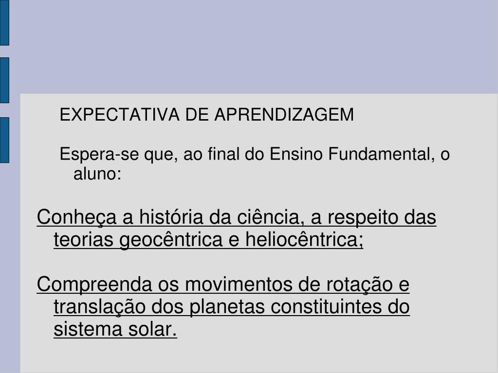 EXPECTATIVA DE APRENDIZAGEM