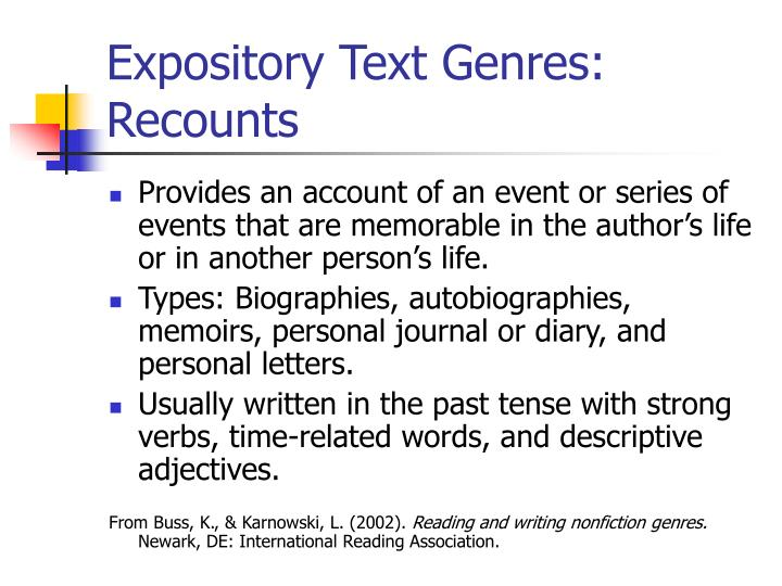 Expository Text Genres: