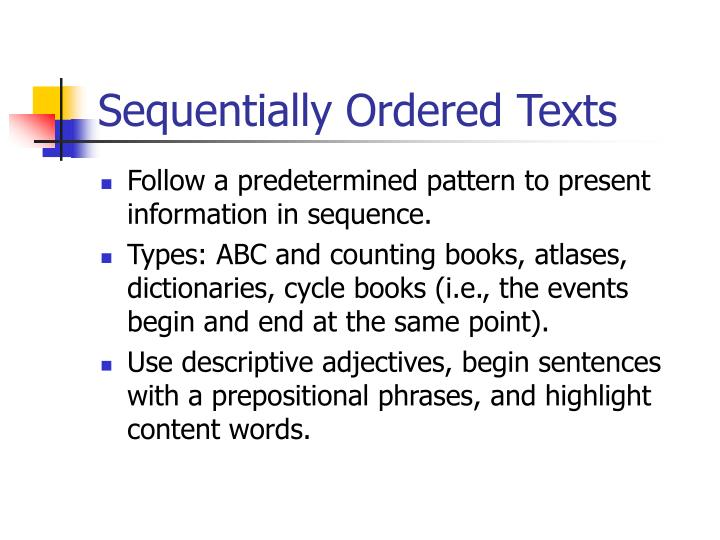 Sequentially Ordered Texts