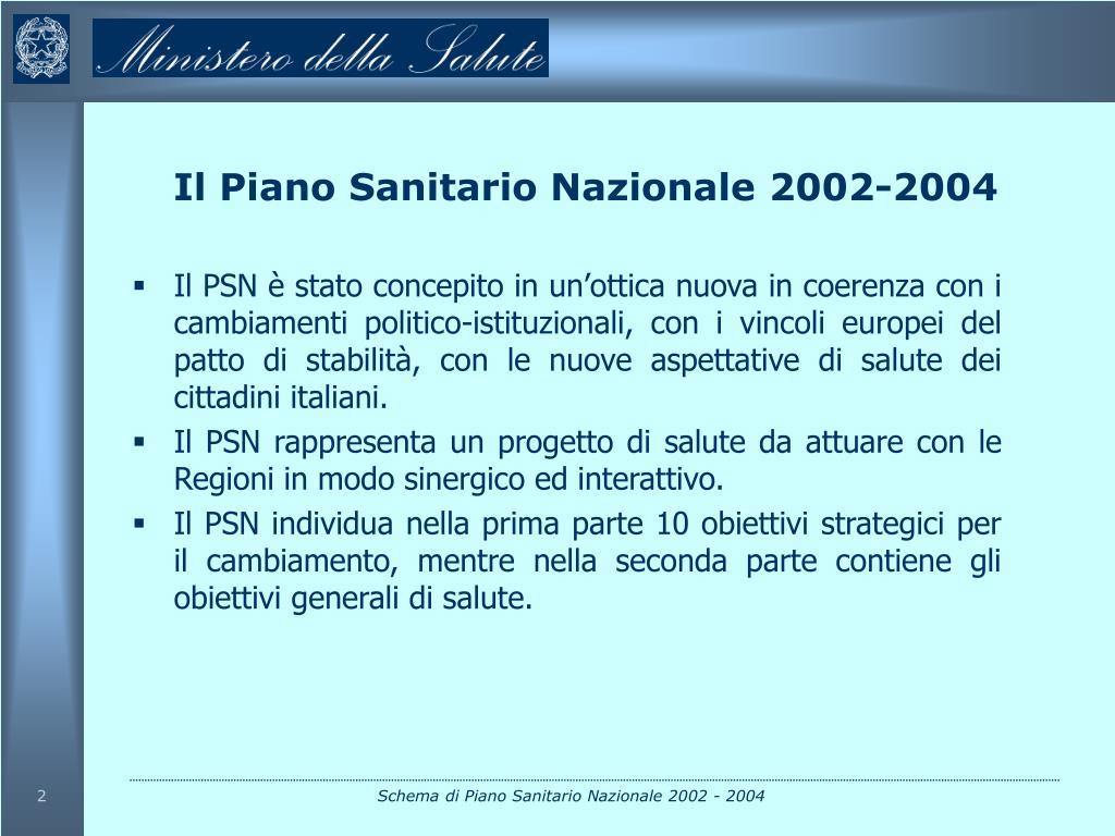 Il Piano Sanitario Nazionale 2002-2004