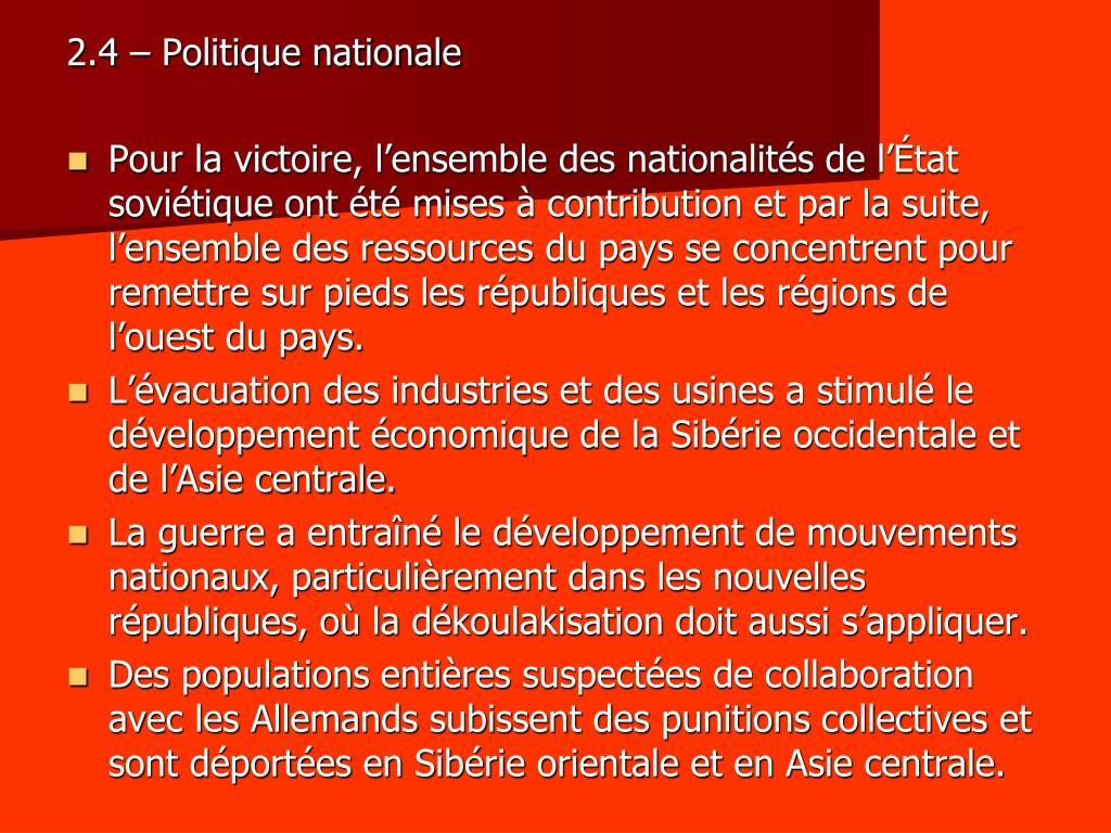 2.4 – Politique nationale