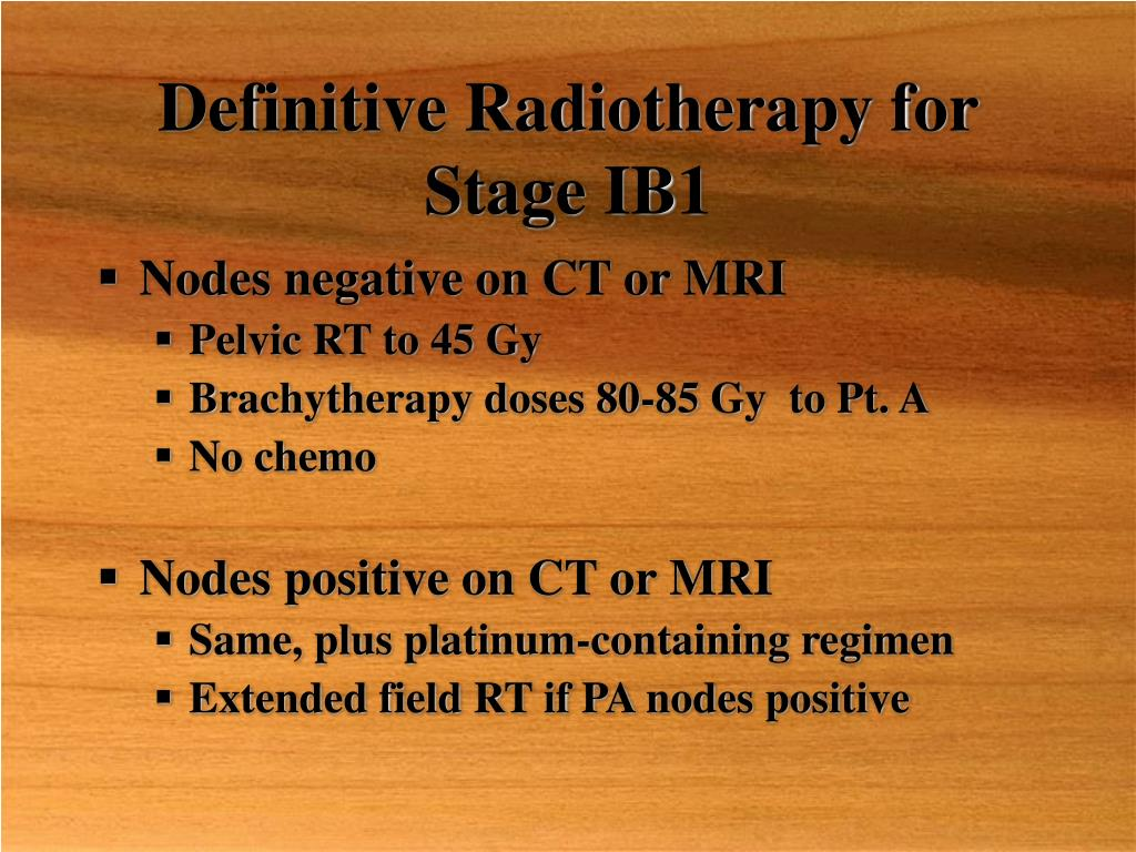 Definitive Radiotherapy for Stage IB1