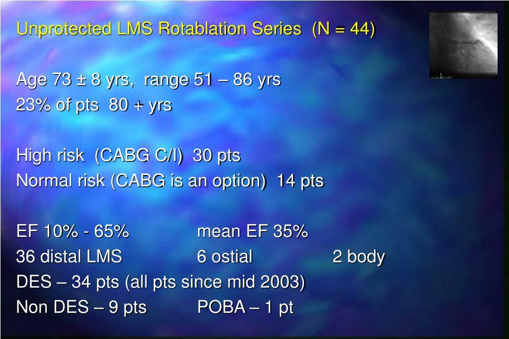 Unprotected LMS Rotablation Series  (N = 44)