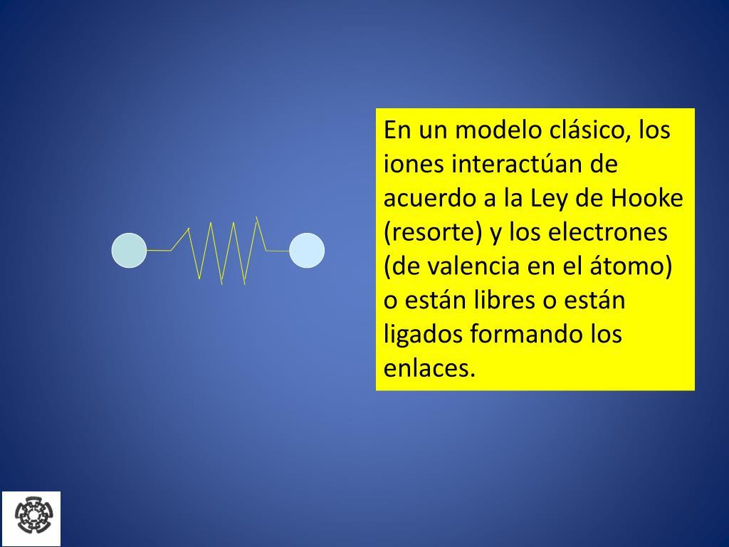 En un modelo clásico, los iones interactúan de acuerdo a la Ley de Hooke (resorte) y los electrones (de valencia en el átomo) o están libres o están ligados formando los enlaces.