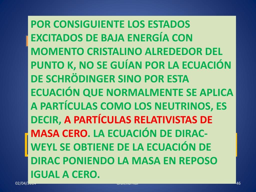 POR CONSIGUIENTE LOS ESTADOS EXCITADOS DE BAJA ENERGÍA CON MOMENTO CRISTALINO ALREDEDOR DEL PUNTO K, NO SE GUÍAN POR LA ECUACIÓN DE SCHRÖDINGER SINO POR ESTA ECUACIÓN QUE NORMALMENTE SE APLICA A PARTÍCULAS COMO LOS NEUTRINOS, ES DECIR,
