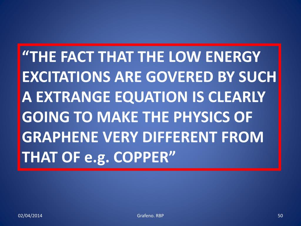 """THE FACT THAT THE LOW ENERGY EXCITATIONS ARE GOVERED BY SUCH A EXTRANGE EQUATION IS CLEARLY GOING TO MAKE THE PHYSICS OF GRAPHENE VERY DIFFERENT FROM THAT OF e.g. COPPER"""