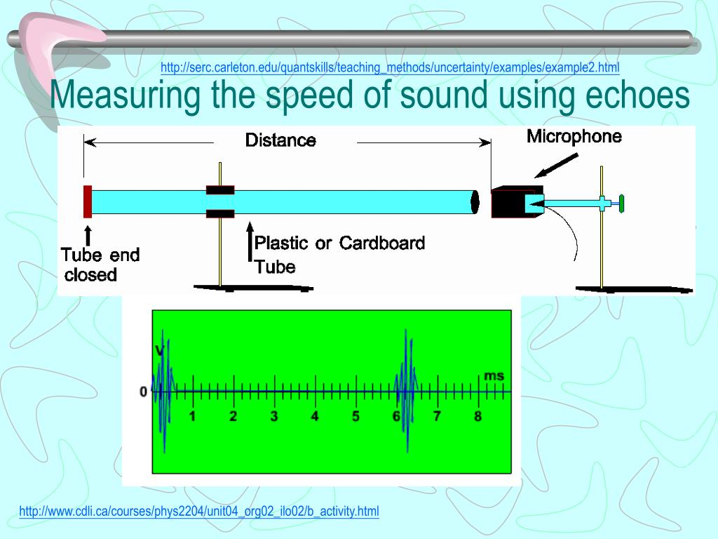 Measuring the speed of sound using echoes