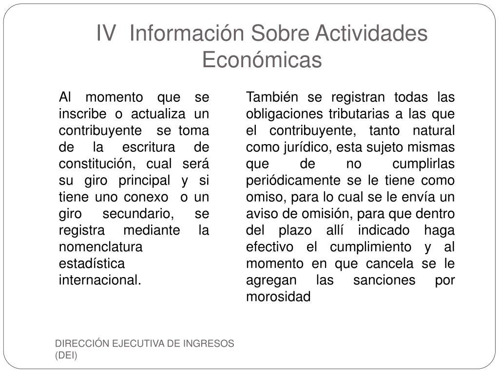 IV  Información Sobre Actividades Económicas