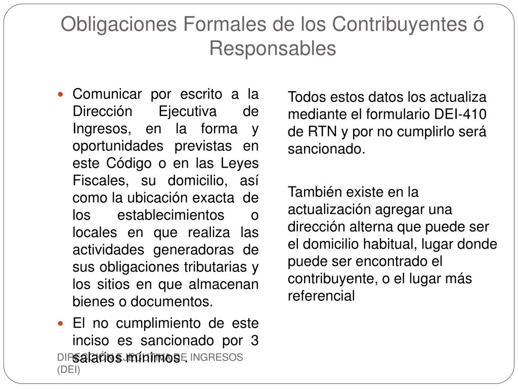 Obligaciones Formales de los Contribuyentes ó Responsables