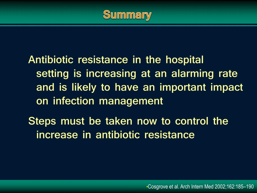 Antibiotic resistance in the hospital