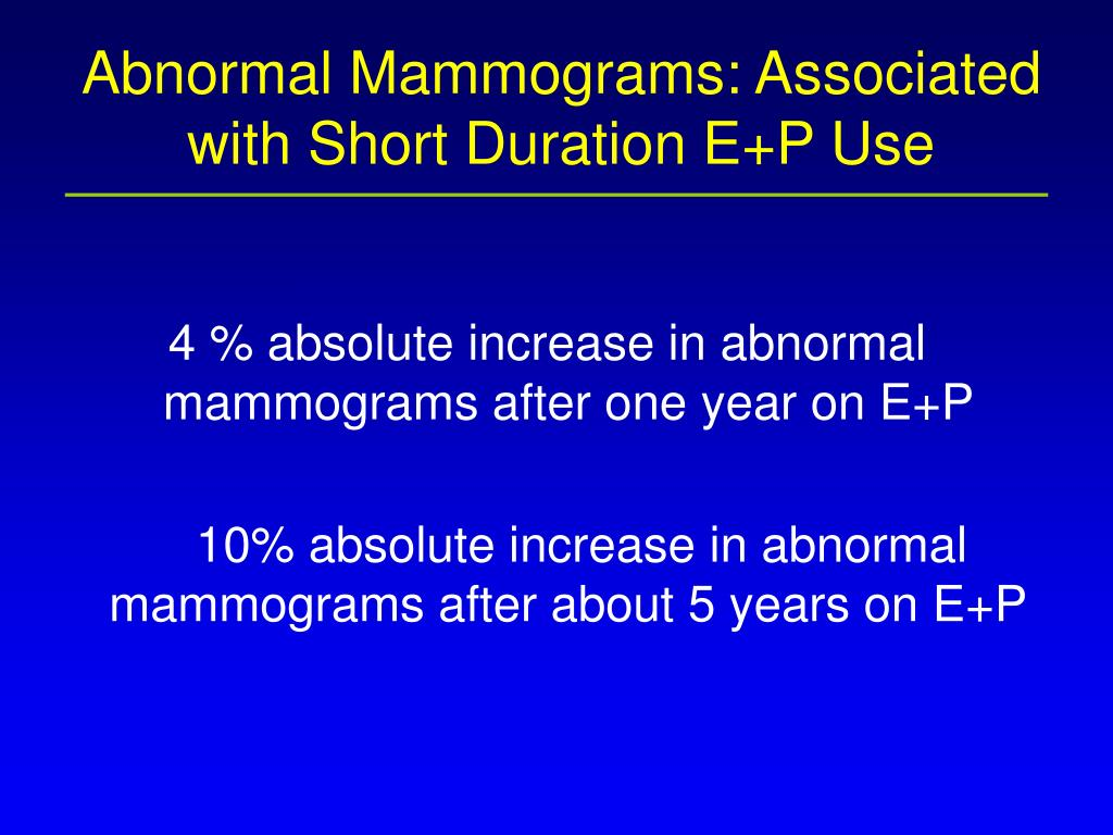 Abnormal Mammograms: Associated with Short Duration E+P Use