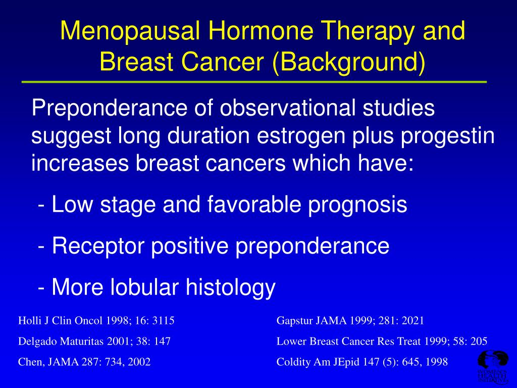 Menopausal Hormone Therapy and Breast Cancer (Background)